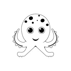 Cute octopus line icon. Aquatic animal element icon. Premium quality graphic design. Signs, outline symbols collection icon for websites, web design, mobile app, info graphics