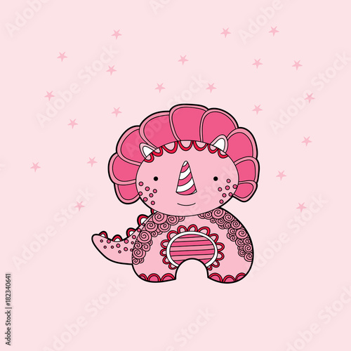 Cute dinosaur multi-coloured vector illustration on a pale pink background with stars.