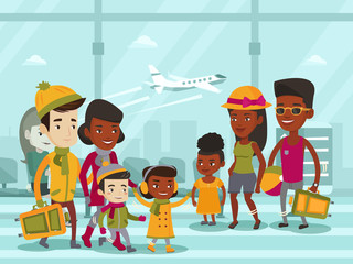 Diverse group of multiethnic tourists in warm winter and summer clothes walking at the airport. African-american and biracial families with kids meeting at the airport. Vector cartoon illustration.