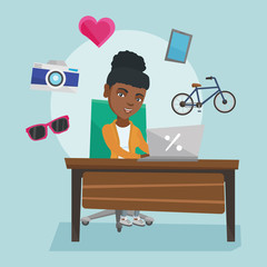 Young african-american woman sitting in front of laptop and images of goods flying around her. Woman doing online shopping. Woman buying purchases online. Vector cartoon illustration. Square layout.