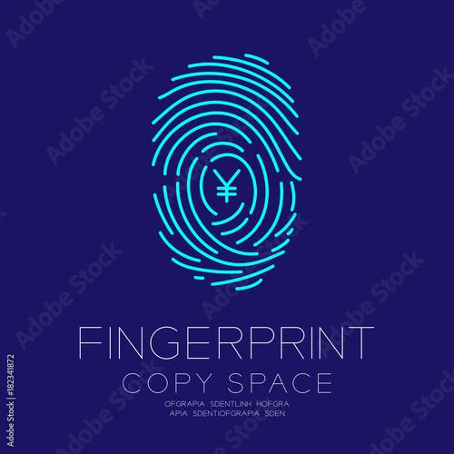 Fingerprint Scan Set With Currency Jpy Japanese Yen Symbol Concept