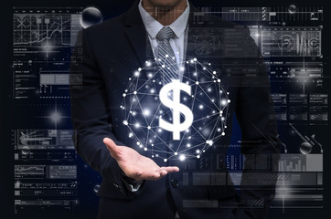 Businessman hand holding the dollar currency text financial technology or FINTECH connection over the digital virtual screen background, Showing the cryptocurrency or digital money