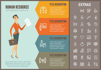 Human resource infographic options template, elements and icons. Infograph includes line icon set with business worker, successful businessman, corporate leader, market data, business team etc.