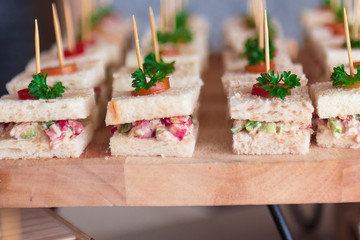 Canape  sandwiches with toothpicks and fresh vegetables on wooden board
