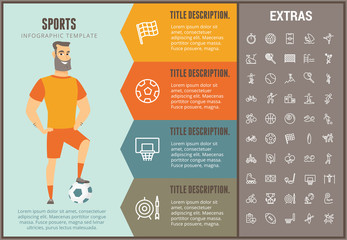 Sports infographic options template, elements and icons. Infograph includes line icon set with sport equipment, sports field, competitive games, pedestal, leisure activities, training exercise etc.