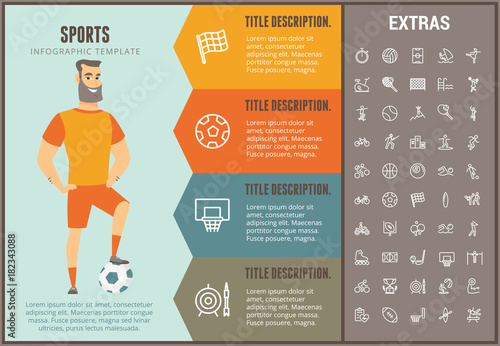 Sports infographic options template elements and icons for Sports infographics templates