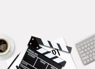 film director's desk. top view shot