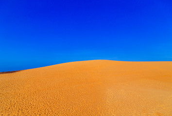 amazing sand dune fields desert landscape with blue sky. Dunes background dry regions