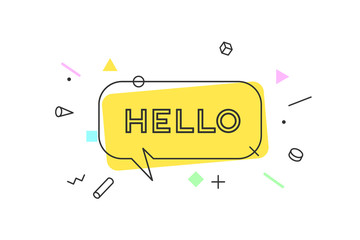 Hello. Banner, speech bubble, poster and sticker concept, geometric memphis style with text Hello. Icon message Hello cloud talk for banner, poster, web. White background. Vector Illustration