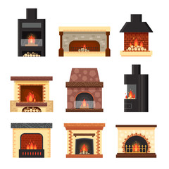 Vector set different colorful home fireplaces with fire and firewood isolated on white background. Design elements for room interior in flat style - stock illustration