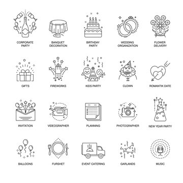 Event and party line icons set for wedding, birthday or corporate entertainment service