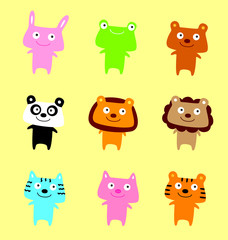 cute animals cartoon vector