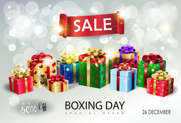 Boxing Day Sale Advertising flyer vector template, Christmas and New Year Winter Holiday, Bokeh lights, gift boxes, beautiful presents, red ribbon, banner.