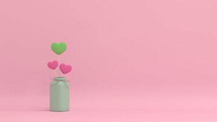 hearts valentines day live together love colorful picture for copy space minimal object concept pastel colorful lovely picture art 3D illustration