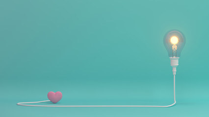 Love is bright, there is hope, love is beautiful heart valentines day concept on pastel background,love colorful for copy space minimal object concept pastel colorful lovely art 3D illus Wall mural