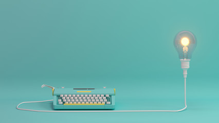 typewriter with light bulb  lighting on valentines day on the table colorful in front of lovely wall  picture for copy space minimal object concept pastel colorful lovely art 3D illustra