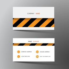 Modern business card template design. With inspiration from Construction. Contact card for company. Two sided black and orange color. Vector illustration.