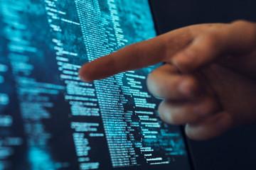Hand, finger, touch, screen, programming, monitor, program, hacking