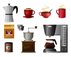 Векторная иллюстрация набор кофе машина чашка кружка кофемолка банка пакет coffee