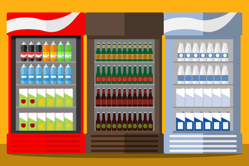 Showcase-refrigerator with drinks. Beer, carbonated water, juice, milk.