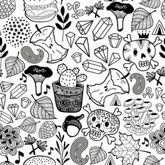 Seamless pattern with skulls in the forest.