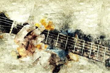 Abstract beautiful playing Guitar in the foreground on Watercolor painting background and Digital illustration brush to art..