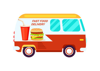 Fast food delivery van icon