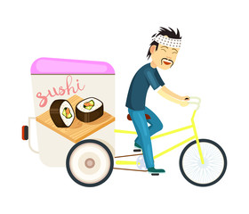 Sushi roll delivery icon with asian courier man