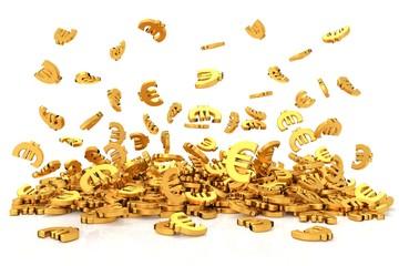 Golden euro sign on white background. 3D rendering.