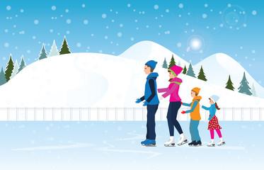 Happy family skating on ice rink on Cityscape landscape background scene .