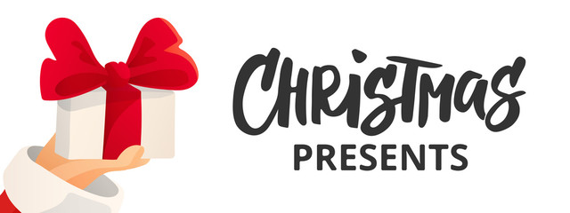 Christmas banner with text. Cartoon flat illustration. Santa Claus hand holding present with bow.