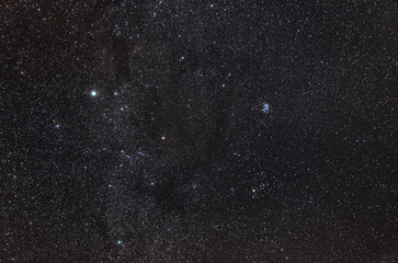 Zodiacal Constellation of Taurus with its star clusters, Pleiades and Hyades.
