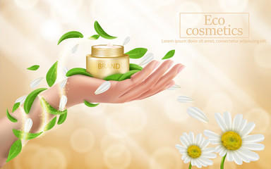 Advertising poster with perfect cosmetic product in open golden box lying on a womans hand, defocused bright background with golden sparkling sequins, flowers and green leaves. Vector realistic design