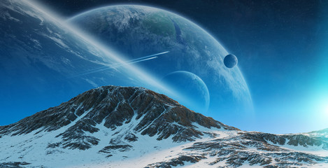 Exoplanets in space 3D rendering elements of this image furnished by NASA