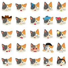Different Cat Emoji Expression Illustration