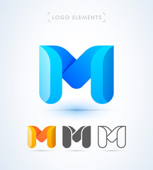 Vector abstract origami letter M logo design template. Material design, flat and line-art style. 3d shape