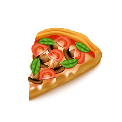 Realistic Detailed 3d Pizza Slice. Vector