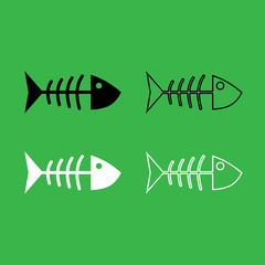 Fish sceleton icon  Black and white color set