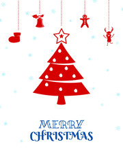 Christmas ornaments hanging with ribbon isolated background. Merry Christmas and happy new year.