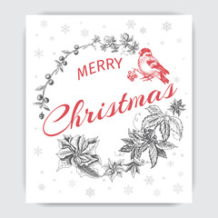 Invitation for a Christmas holiday. Greeting card with a happy new year and Christmas. Flyer, poster, banner, festive design.