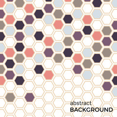 Abstract background with color hexagons elements.  Vector illustration.