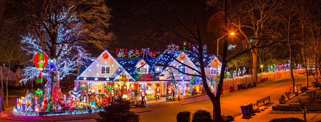 Christmas lights display house, Jamaica Estates, NY