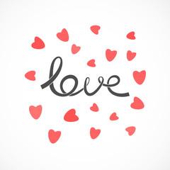 Love - shaped ribbon text with hearts