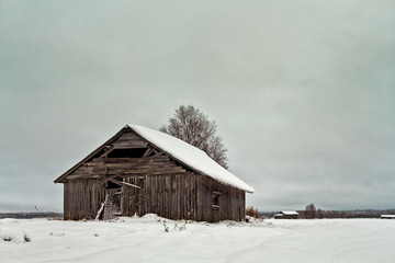 Barns On The Snowy Fields