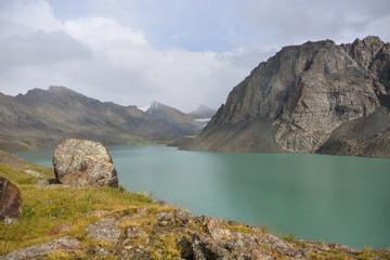 Wonderful mountain landscape (lake, highland, peak)