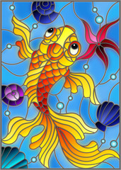 Illustration in stained glass style with a goldfish on a background of shells and water