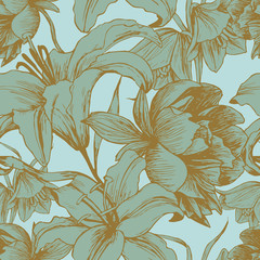 Vector floral seamless pattern with peonies, lilies in vintage style