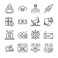 Hacker icon set. Included the icons as hacking, malware, worm, spyware, computer virus, criminal and more.  - fototapety na wymiar
