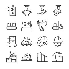 Industrial process icon set. Included the icons as factory, industry, process, production, machine, engineering and more.