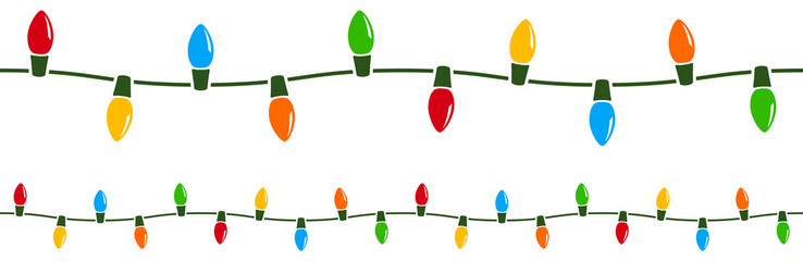 Vector illustration of a string of colorful holiday lights that can be joined end to end seamlessly to form longer strings as needed.